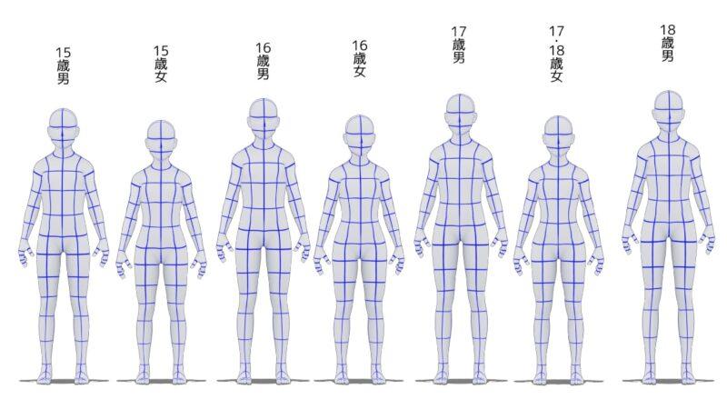 15歳から18歳の身長比較